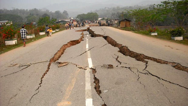 Earthquake damage to a road in Sabeh state, Borneo, Malaysia