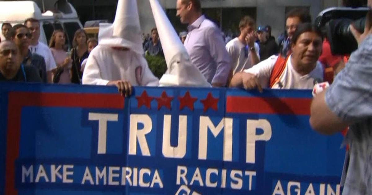 Trump security ruffles protesters making KKK comparisons - Videos ...