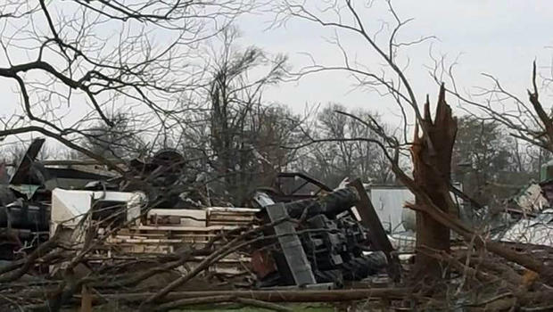 Damage is seen from tornado in Coahoma County, Mississippi, on December 23, 2015