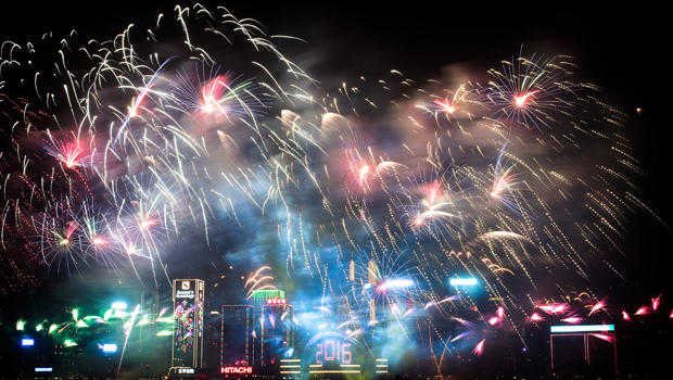 Fireworks are seen over the city's skyline in Hong Kong on Jan. 1, 2016, as part of the 2016 new year celebrations.