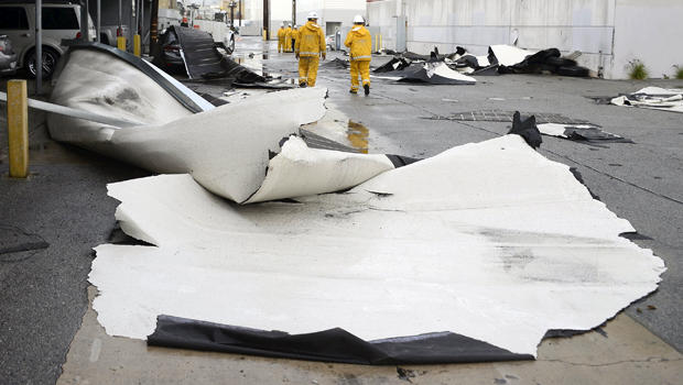 Wind damage by a possible tornado is seen at a commercial building in Vernon, California, Jan. 5, 2016.