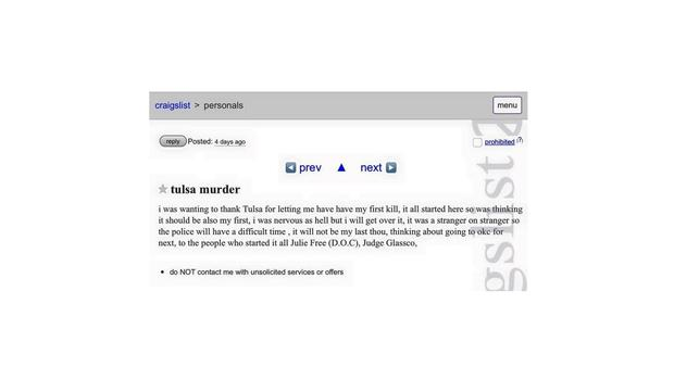 Tulsa, Oklahoma police probe Craigslist posting bragging ...