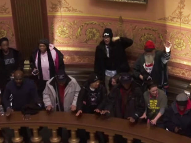 Demonstrators in Michigan Capitol building protesting against Gov. Rick Snyder over the water crisis in Flint on January 14, 2016