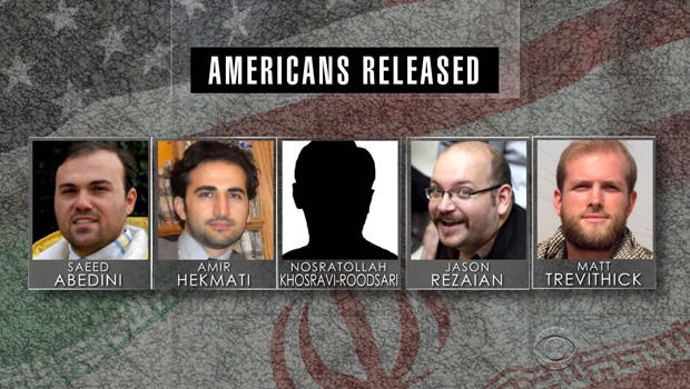 从左到右,牧师Saeed Abedini,前美国海军陆战队Amir Hekmati,华盛顿邮报记者Jason Rezaian和美国学生Matthew Trevithick都出现在这张照片组合中。