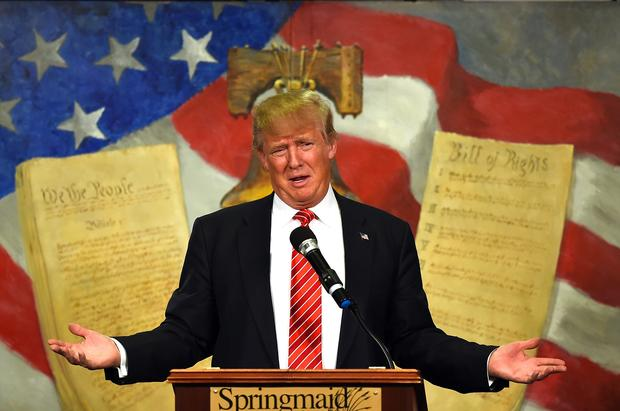 Republican presidential candidate Donald Trump speaks at the South Carolina Tea Party Convention at the Springmaid Beach Resort in Myrtle Beach, South Carolina, Jan. 16, 2016.