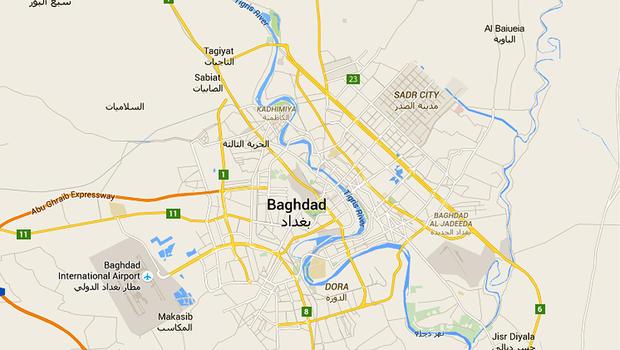 A map of Baghdad, Iraq