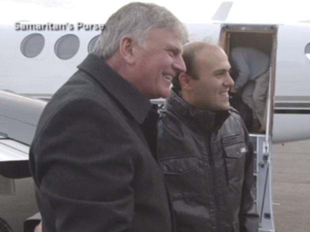 Pastor Saeed Abedini, right, with Franklin Graham, son of Billy Graham, in North Carolina on January 22, 2016