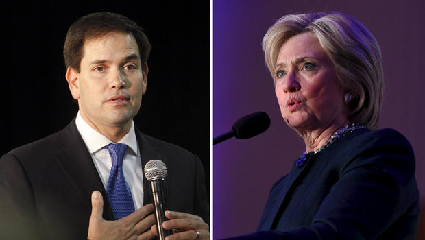 Republican presidential candidate and Florida Sen. Marco Rubio and Democratic presidential candidate Hillary Clinton