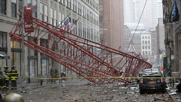 Emergency crews survey a massive construction crane collapse on a street in lower Manhattan in New York Feb. 5, 2016.