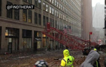 Massive crane collapses as crews were securing it in place