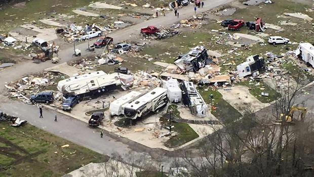 Wreckage covers the grounds of a mobile home park a day after it was hit by a tornado in Convent, Louisiana, Feb. 24, 2016, in an aerial photo provided by the Louisiana Governor's Office of Homeland Security and Emergency Preparedness.