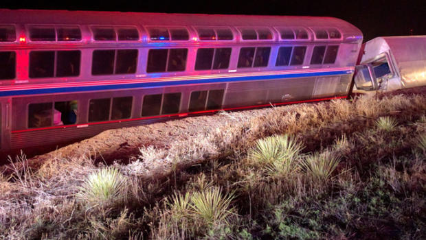 Two of five Amtrak train cars that derailed west of Dodge City, Kansas early on March 14, 2016 are seen in photo provided to CBS News by a passenger