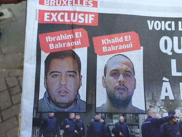 Brothers Khalid and Brahim Bakraoui, suspects linked to the Brussels terrorist attacks, are pictured on a newspaper front page in Brussels