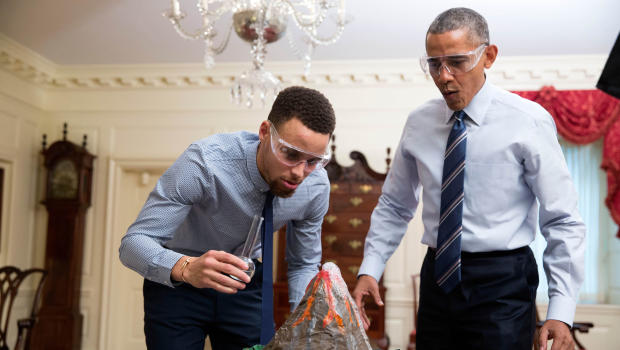 Obama, basketball star Stephen Curry team up on mentorship PSA - CBS ...