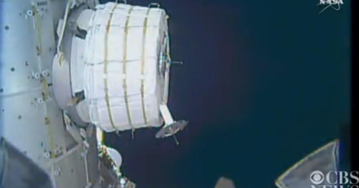 """Space station crew inflating experimental """"BEAM"""" external ..."""