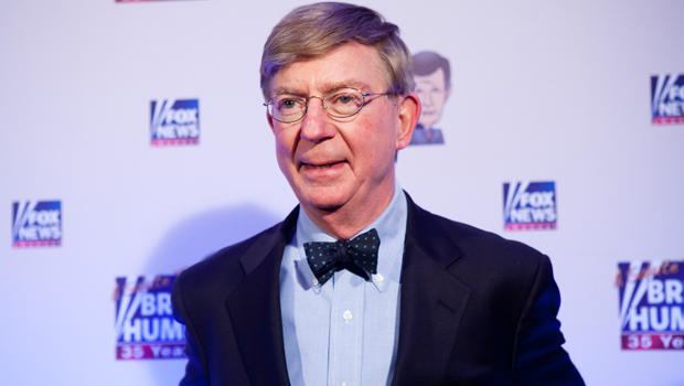 Conservative newspaper columnist George Will poses on the red carpet upon arrival at a salute to Fox News Channel's Brit Hume on Jan. 8, 2009, in Washington.