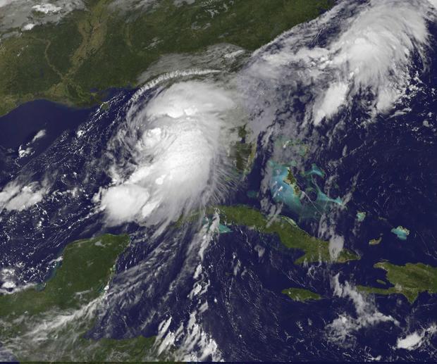 热带风暴Hermine在2016年9月1日捕获的GOES East卫星图像中显示在墨西哥湾上空。
