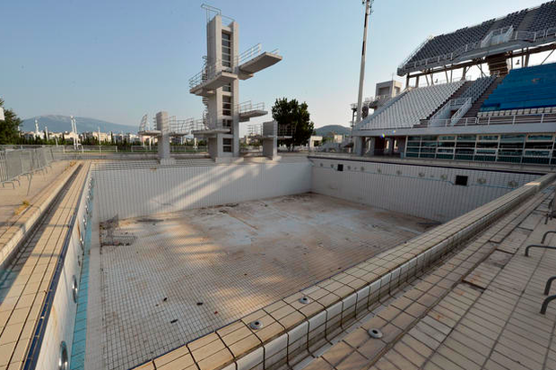 Abandoned stadiums and crumbling arenas