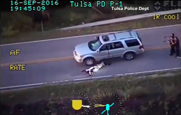 A still image captured from an aerial video from the Tulsa Police Department shows Terence Crutcher after being shot during a police shooting incident in Tulsa, Oklahoma, on Sept. 16, 2016.