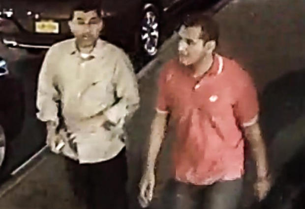 两个未认出的人在2016年9月17日的纽约曼哈顿自治市镇拍的监视录影图象捕获被看见。
