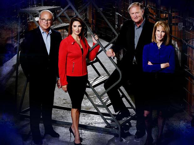 """""""48小时""""记者,左起,Richard Schlesinger,Maureen Maher,Peter Van Sant和Erin Moriarty"""