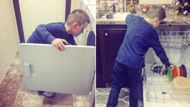 Image result for Photo of 6-Year-Old Boy Doing Chores Goes Viral: 'Household Work Isn't Just For Women'