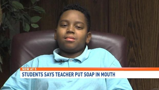 Teacher washes out boy's mouth with soap