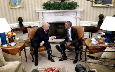 Donald Trump meets with President Obama at the White House