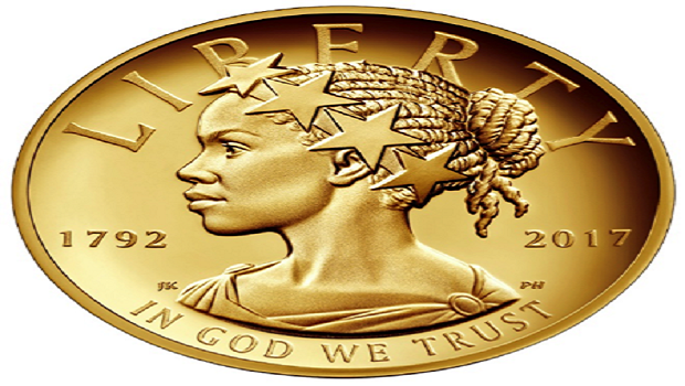 New $100 coin shows Lady Liberty as an African-American woman