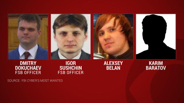 From left, Dmitry Dokuchaev, Igor Sushchin and Alexsey Belan are seen a combination of photos provided by the FBI.