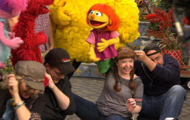 "Filming an episode of ""Sesame Street"""