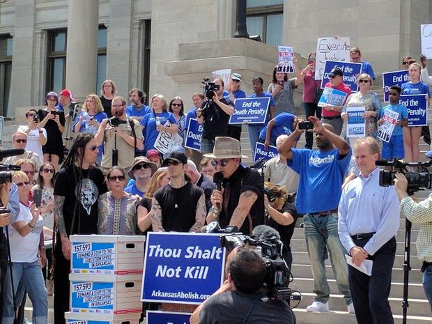 Outcry after Arkansas judge who stayed executions joins anti-death penalty rally