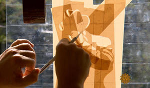 Dutch Master Max Zorn paints with packing tape