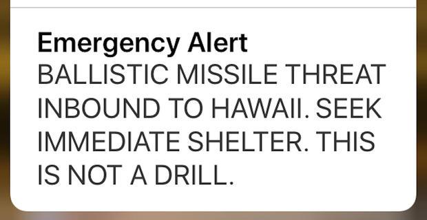 夏威夷错误的导弹警报
