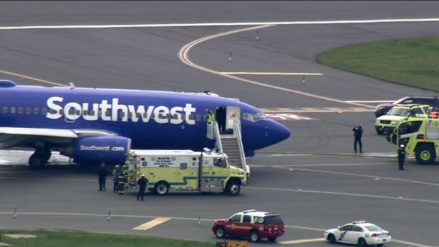 2018年4月17日在费城国际机场紧急降落后,可以看到西南航空公司的航班。