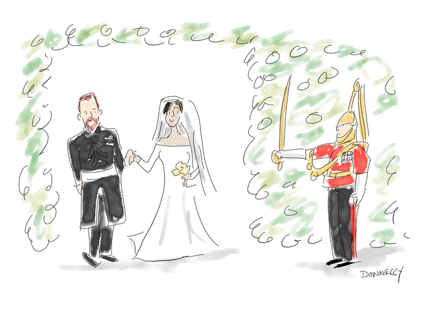 The royal wedding of Prince Harry and Meghan Markle in cartoon