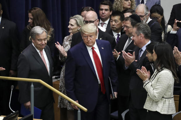 United Nations Secretary-General Antonio Guterres, left, and President Trump arrive for a meeting on religious freedom at U.N. headquarters on September 23, 2019, in New York City.