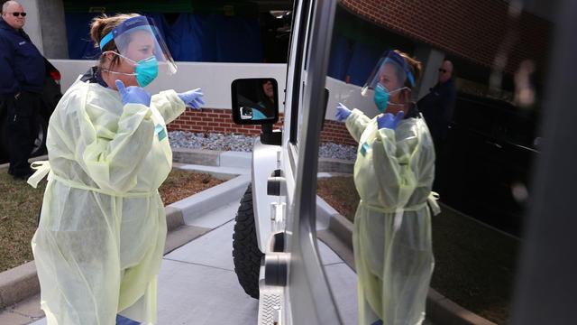 Drive Thru Coronavirus Testing Area Opens At Carroll Hospital in Westminster, Maryland