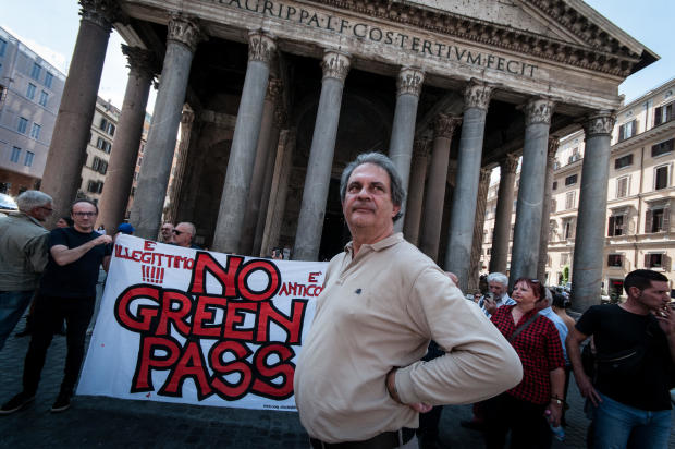 Forza Nuova Sit-in Against Green Pass In Rome