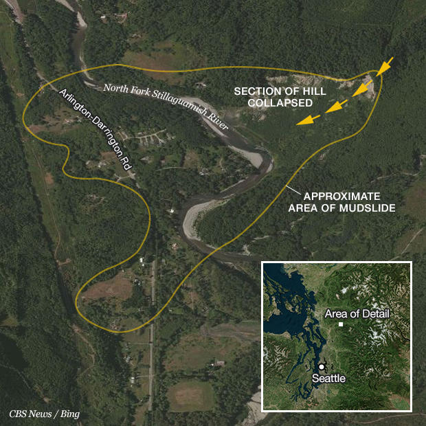 Unofficial Death Toll Climbs To 24 In Washington State Mudslide: Map Washington State Landslide At Usa Maps