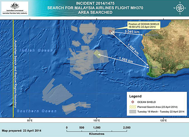 A map provided by the Australian government on April 23, 2014, shows the area being searched for debris from Malaysia Airlines Flight 370