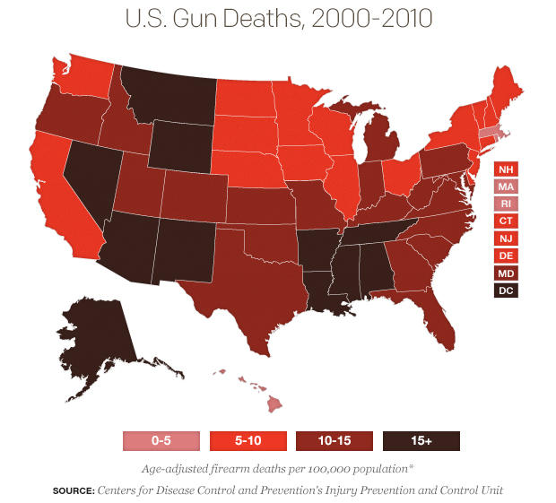 Rates Of Gun Deaths Vary Widely In US CBS News - Gun deaths us map image