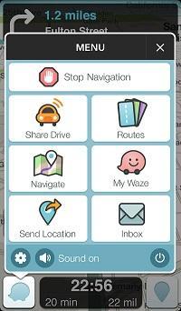 Waze main menu