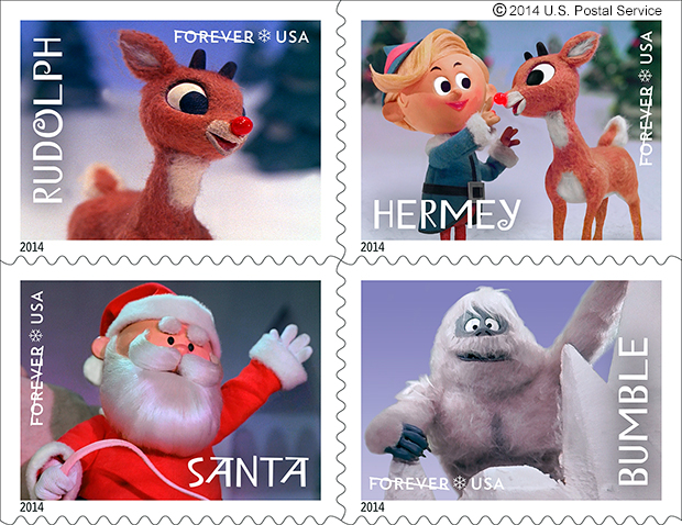 """Four characters from the television special """"Rudolph the Red-Nosed Reindeer"""" are being featured on U.S. Postal Service stamps for the 2014 holiday season."""