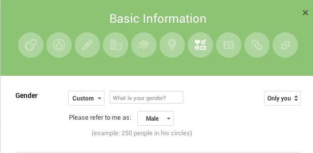 g+ gender