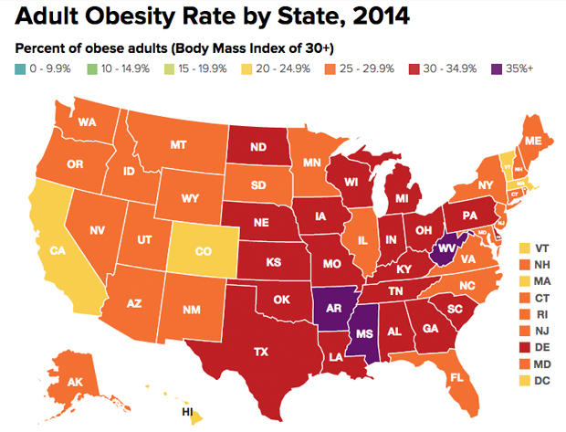 Little Sign Of Improvement In US Obesity Rates CBS News - Map of cancer rates in us