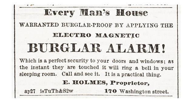 First Home Alarm Systems ad - Sunday paper: February 21st, 1858