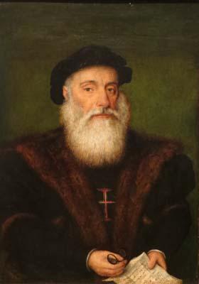 A painting depicts 16th century Portuguese explorer Vasco de Gama
