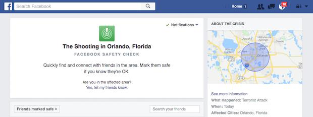 Orlando nightclub shooting: Facebook activates Safety Check feature