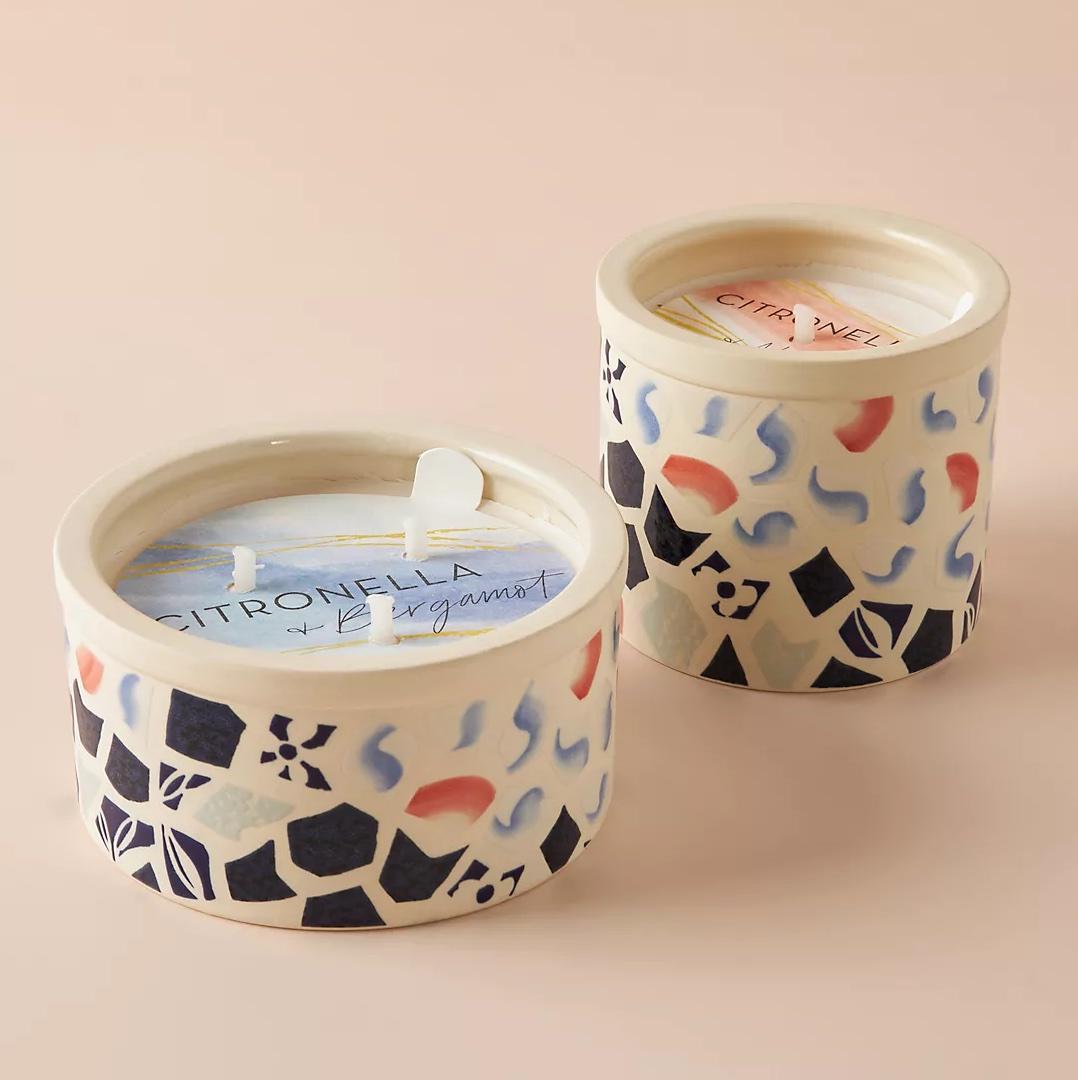 Anthropologie lemongrass ancône ceramic candle